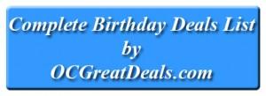 free birthday deals list