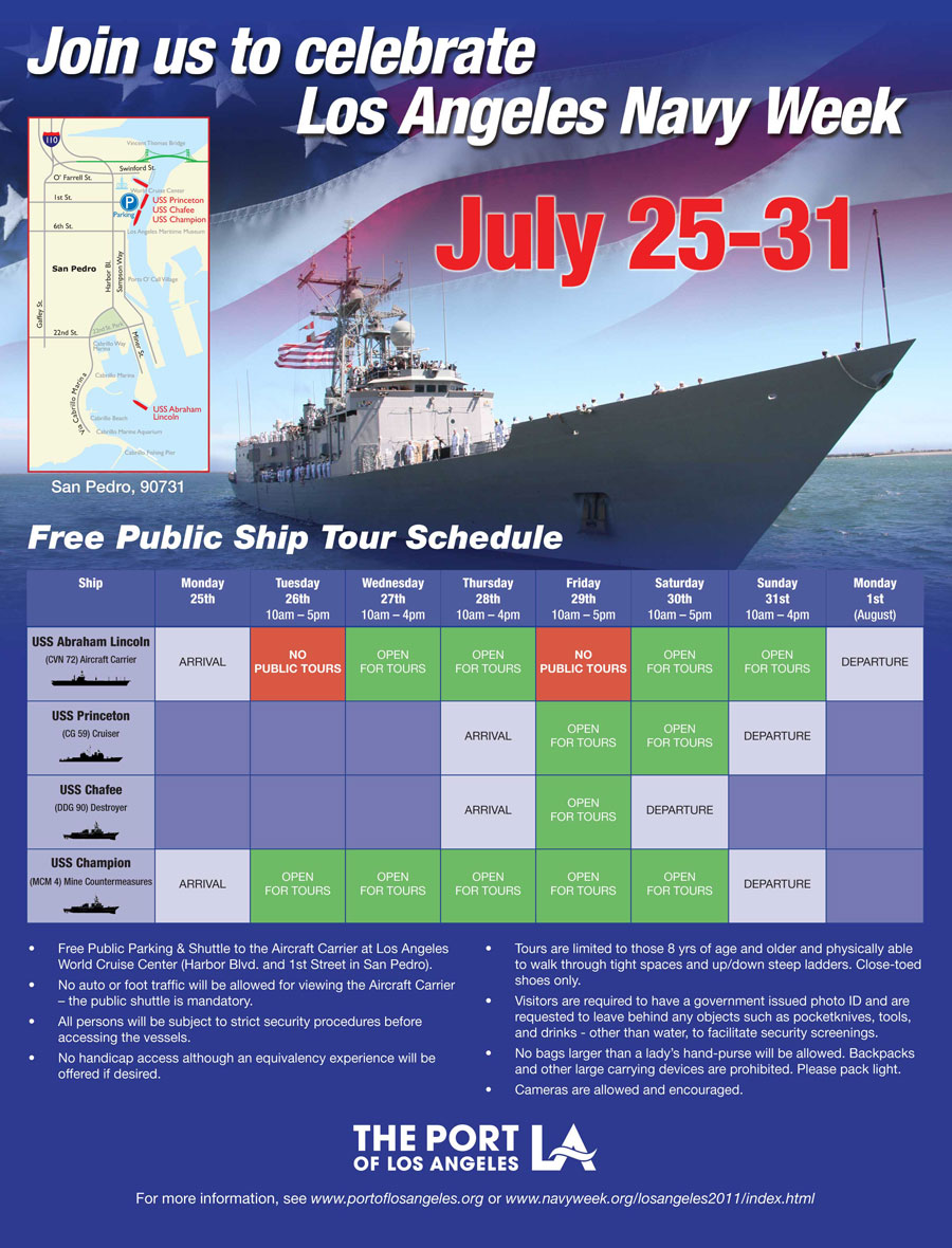 Ship tour schedule